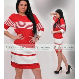 Warp Zone Piros fehér színű fekete kerek nyakú kötött ruha S-es