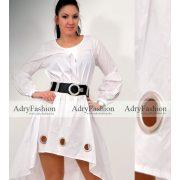 Fehér színű nagy ringlis díszes női ruha  - öv nélkül
