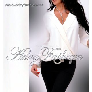 Galléros átlapolt elegáns női ing törtfehér