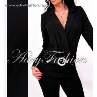 Galléros átlapolt elegáns női ing fekete