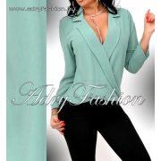 Galléros átlapolt elegáns női ing zöld színű