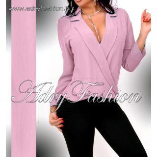 Galléros átlapolt elegáns női ing lila