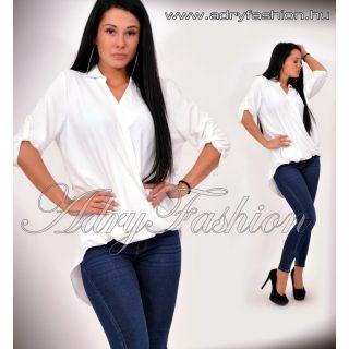 Fehér színű elegáns LENGE átlapolt ing lenge laza női felső