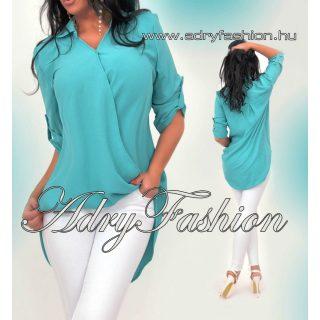 Halvány zöld átlapolt ing elöl rövidebb felgombolt ujjal lenge