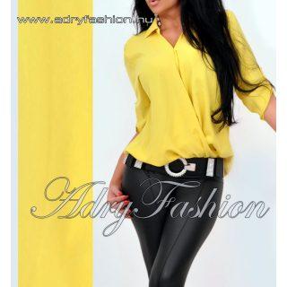 Sárga színű átlapolt ing felgombolt ujjal lenge