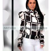 Fekete fehér kocka mintás elegáns női szatén ing nyakánál megkötős