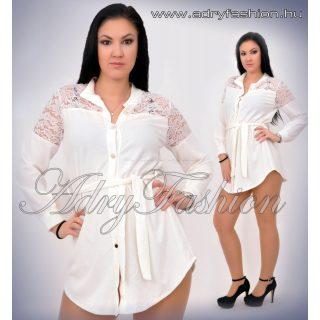 Fehér ingruha derekán megköthető vállán csipkés
