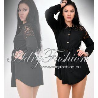 Fekete ingruha derekán megköthető vállán csipkés