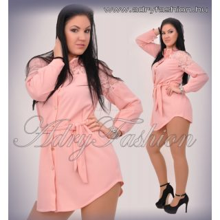 Rózsaszín ingruha derekán megköthető vállán csipkés