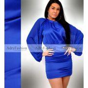 Királykék garbós selyem - muszlin gumírozott női ruha