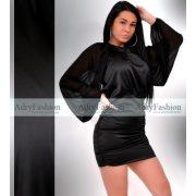 Fekete  színű garbós selyem - muszlin gumírozott női ruha