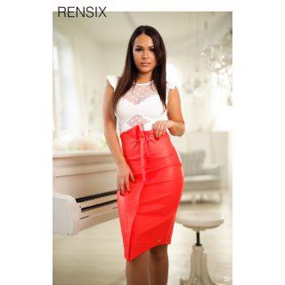 Rensix piros bőrhatású női szoknya magasderekú  S-es