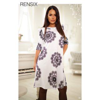 Rensix fehér fekete mintás Á vonalú női ruha