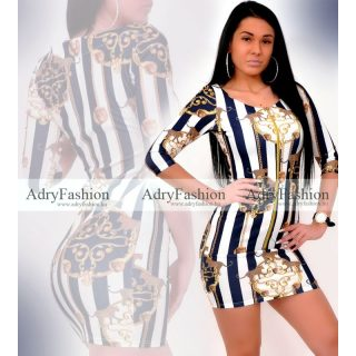 Missq Variant kék Csíkos cipzáros passzos női ruha S-es
