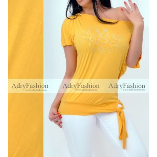 Missq Mustár sárga színű lenge Calypso felső