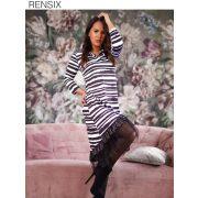 Rensix fekete fehér  csíkos mintás poliamid női ruha alul fodros