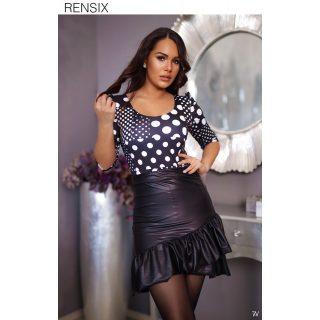 Rensix fekete fehér pöttyös  mintás poliamid  női felső