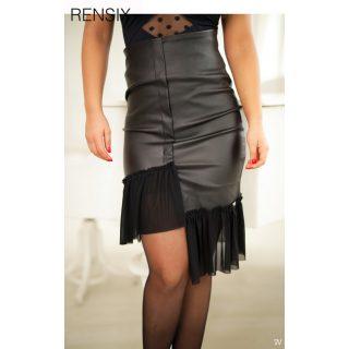 Rensix fekete bőrhatású szoknya alul tüll dísszel S-ES