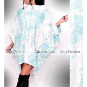 Meryll mentazöld  fehér szürke mintás lenge Carmen női ruha
