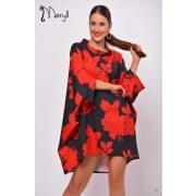 Meryll piros fekete  mintás lenge Carmen ruha