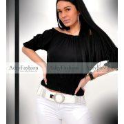 Fekete vállra húzható gumírozott női felső