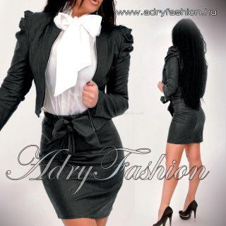Fekete színű műbőr mini blézer  cipzáros - és szoknya szett