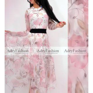 Rózsaszín  tavaszi virág mintás dupla felső - szoknya nélkül