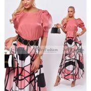 Rózsaszín mintás selyem Maxi szoknya - öv és felső nélkül