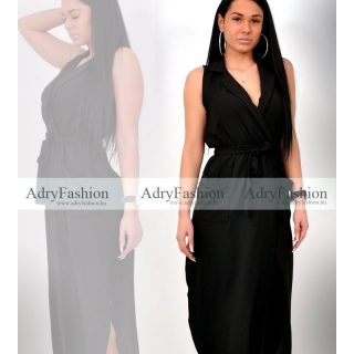 Fekete színű Maxi ruha galléros