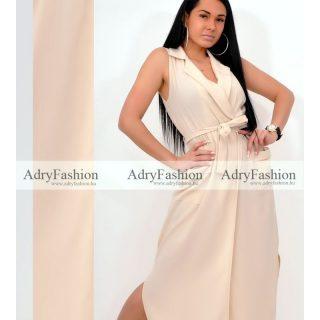 Bézs színű Maxi ruha galléros