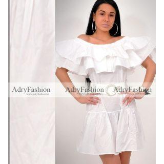 Fehér gumis vállú lenge ruha - öv nélkül