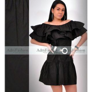 Fekete gumis vállú lenge ruha