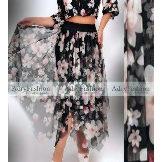 Fekete virág mintás elegáns  muszlin hosszú szoknya  - felső nélkül