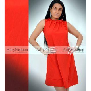 Piros színű nyakán húzott A - vonalú lenge ruha