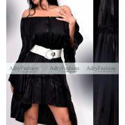 Fekete színű anyagában fényes lenge laza ruha - öv nélkül