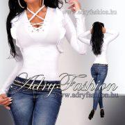 Fehér poliamid fűzős női felső fehér