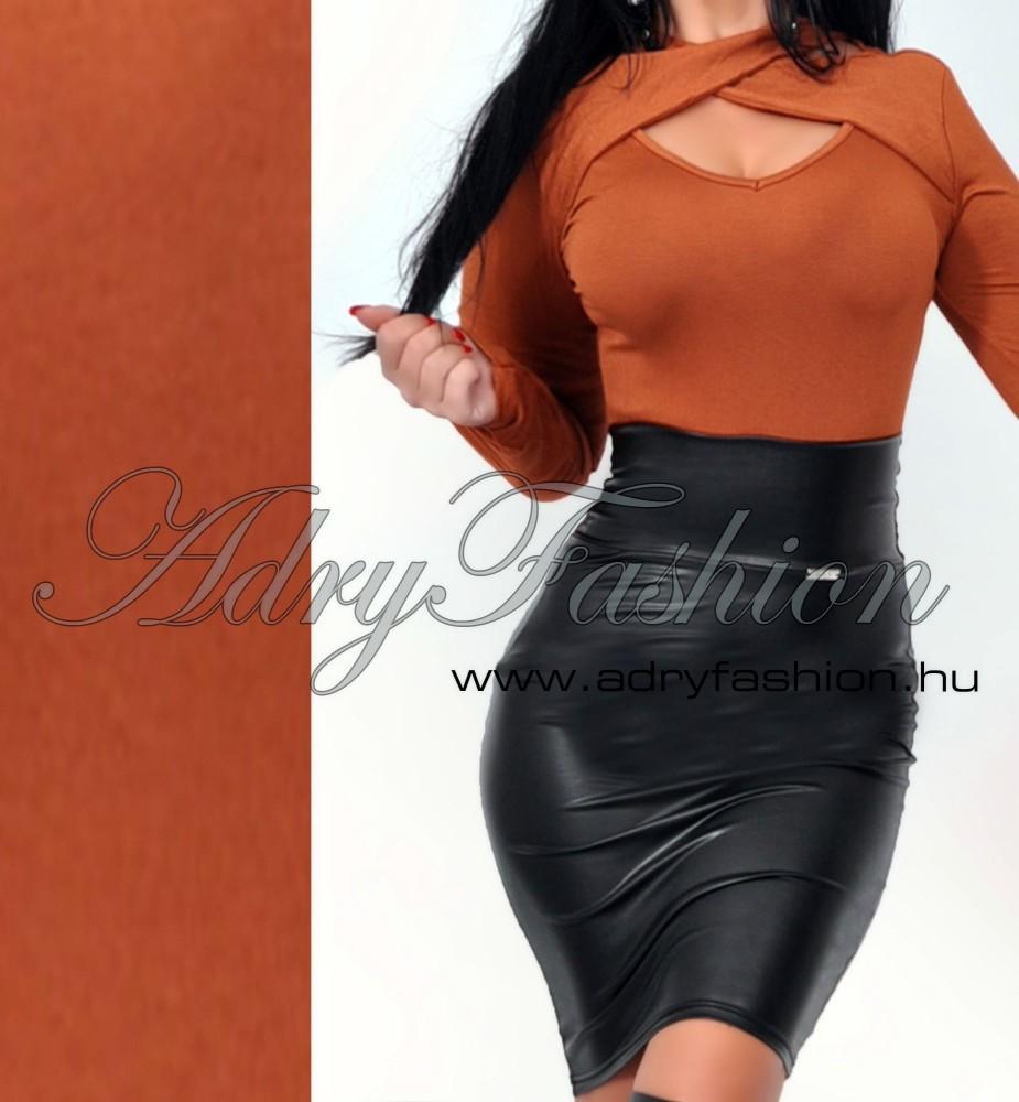 Nyakánál átlapolt csaubarna női felső - AdryFashion női ruha ... 6f154264ad