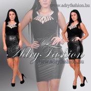 Elegáns alkalmi fekete ujjatlan muszlin-strasszos női body