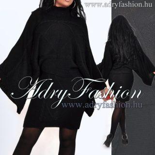 Magasított nyakú fekete kötött ruha szett felső és szoknya szett
