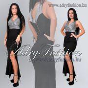 Fekete ezüst vállra húzható felsliccolt elegáns maxi női ruha
