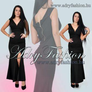 Fekete vállra húzható felsliccolt elegáns maxi női ruha