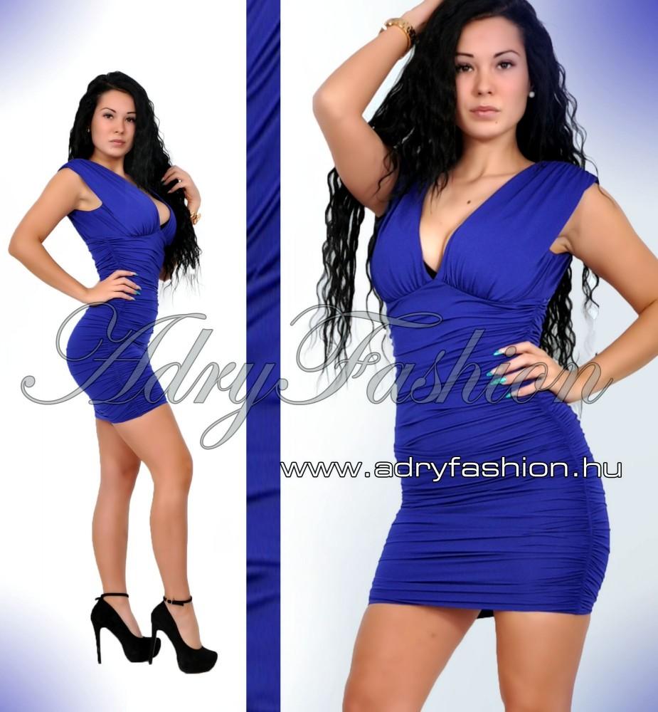 73c0455766 Királykék színű oldalán húzott elegáns alkalmi női ruha ...