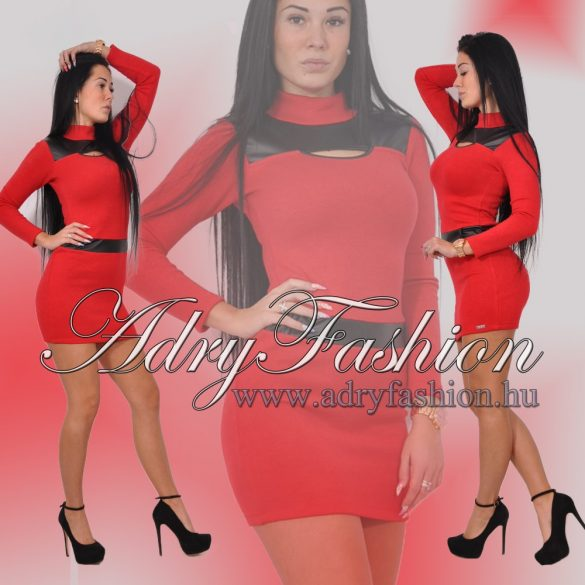 RENSIX Piros garbós  finom-kötött női ruha bőr betéttel és bőr övtartóval