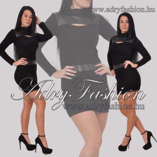 RENSIX Fekete  színű finom kötött női ruha műbőr betéttel