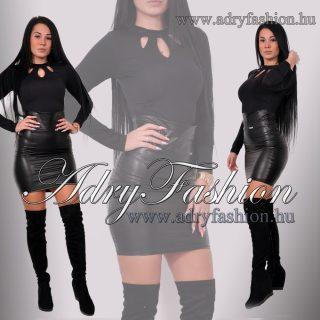 RENSIX Fekete színű  garbós nyitott kivágott női felső