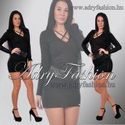RENSIX Fekete   - műbőr betétes csini női ruha