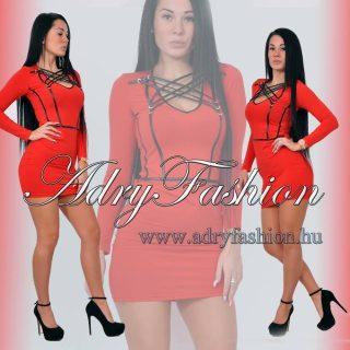 RENSIX Piros dekoltázsnál műbőr fűzős mini női ruha