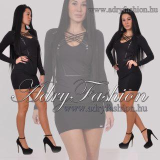 RENSIX Fekete dekoltázsnál műbőr fűzős mini női ruha