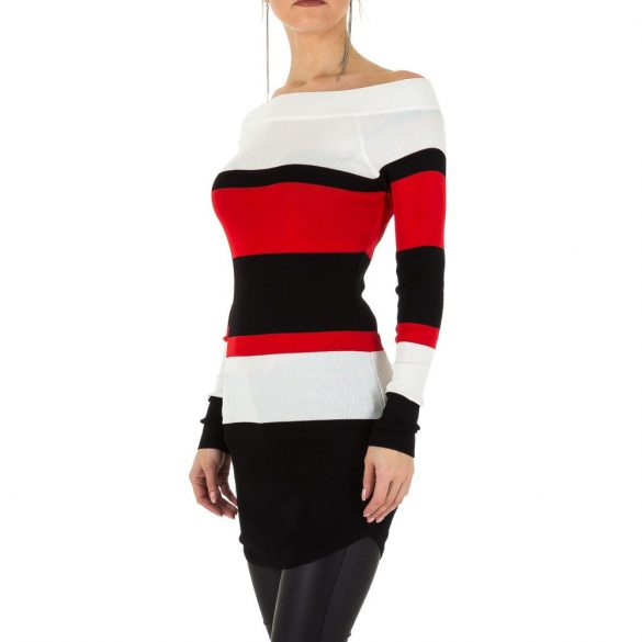 Fehér fekete piros csíkos kötött női ruha