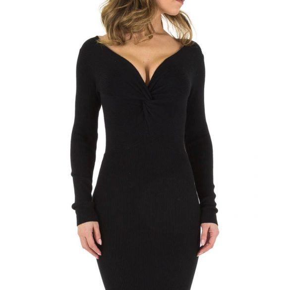 Fekete mellénél csavart kötött női ruha